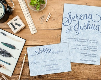 Hydrangea Blossom Wedding Invitations Set, Floral Wedding Invitation, Response Cards, Thank you cards, Garden Wedding Invites, Invitations