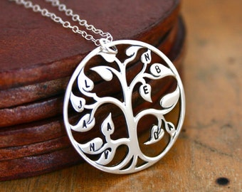 Family Tree Necklace, Mothers Necklace with initials stamped, Personalized Jewelry Gift for Mom Grandma or Wife, Family Tree Jewelry, Family