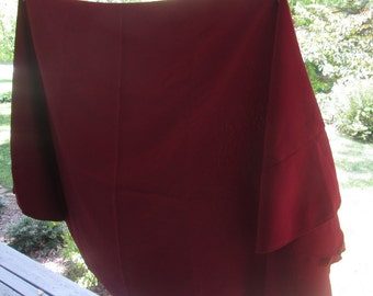 Vintage Large Round Tablecloth - Textured Burgundy Cotton Blend