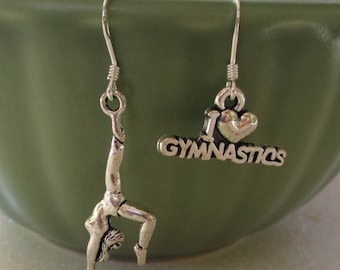 Earrings I Love Gymnastics sterling silver french wire dangle gymnast girls kids tween teen competition 10 dollar gift meet jewelry