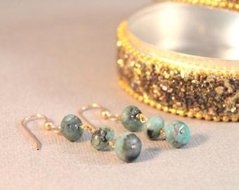 Green Emerald Dangle Earrings