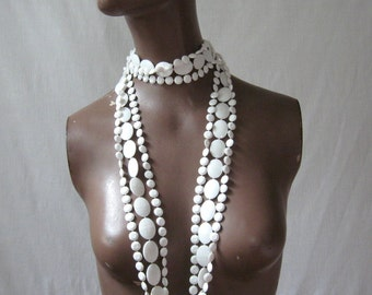 GoGo Necklace 1960s Plastic Bead Necklace White Multi Strand Long Necklace Vintage 60s