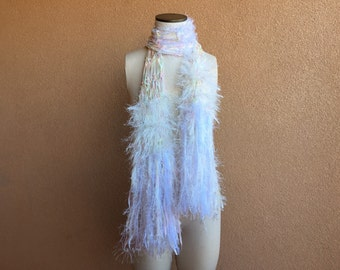 White Rainbow Fringe Scarf. Prism Pastel Rainbow Scarf Rainbow Ribbon Scarf Multicolor Rainbow Fashion Scarf like Subtle Watercolor