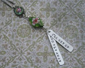 Wharf Rat Grateful Dead hand-stamped aluminum lyrics cloisonne and enamel pendant I'll get up and fly away sterling chain