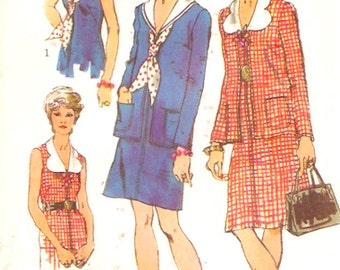 70s Nautical Dress Retro sailor style cardigan outfit Simplicity 9919 Vintage sewing pattern Bust 36 UNCUT