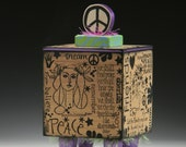 Box, Handmade Box, Peace, Peace Sign, Rubber Stamped Box