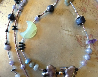 Moon Siren Boho Mermaid Pearl Necklace