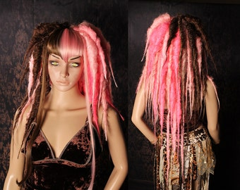 Tea Party Vampire Dread Wig, big dread locks, Halloween costume, long pink brown Gothic dreadlocks, cosplay hair, Tribal Belly Dance
