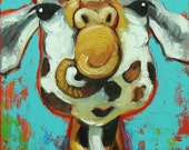 Giraffe #12 -  12x24 inch animal original oil painting by Roz