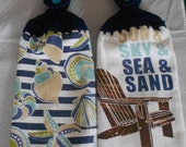 Seashore Themed Crocheted Top Hand Towel Sea Shell Themed Handle top towel set Seashell Granny Kitchen Towel Hand Towel Set