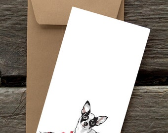 BFHOL13: Chihuahua with Lights - 8 Blank flat cards and envelopes