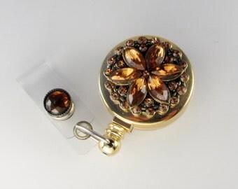 Crystal Flower Badge Reel, ID badge holder, retractable lanyard,  brown & gold