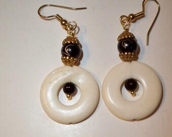Black & White Earrings, Carved Bone Earrings, Bone Circle Earrings Bone  Circle Beads and Black Glass Beads, Dangle Earrings Gifts for Women