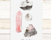 Minerals & Gems Vol4 - Quartz Collection / Watercolor botanical wall hanging, wood trim art. Scientific Canvas Posters Chart More Options