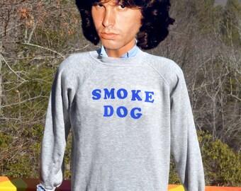vintage 80s sweatshirt flock SMOKE DOG wtf iron on heathered gray raglan crewneck Medium Large funny 420