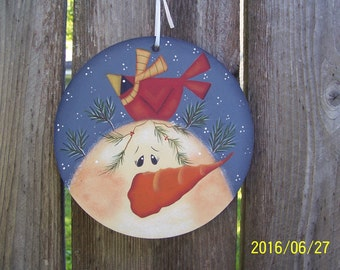 Large-Snowman-Cardinal-Round-Ornament-Gift Tag Christmas Holiday Home Decor Decoration