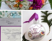 Custom Wedding Ornament - Personalized, hand painted