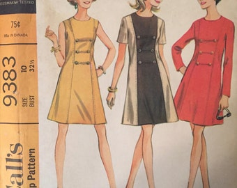 """Vintage 1960s McCall's 9383 Dresss Pattern Size 10 Bust 32.5"""" - NC - Vintage McCall's Pattern / 60s McCall's / Sewing Pattern / 60s Pattern"""
