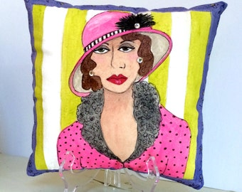 ANAIS PARIS PILLOW, Hand Painted, 8 in X 8 in, Paris woman, Anais Nin, inspiring quote, pistachio, lavender, pink suit, gift for her