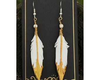 Pearly Gold Feathers- 2 Inch Leather Feather Earrings - Hand Painted Leather Bird Feather Earrings