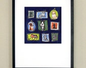 """The Pets - illustrated family pets - signed print 10x10"""" in 16x20"""" matte"""