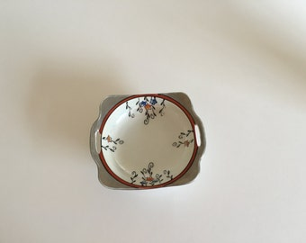 Vintage Noritake dish, small handpainted bowl, made in Japan, square, round, 1920s, 1930s, porcelain