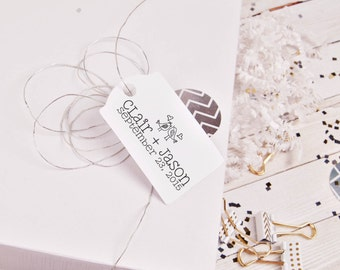 lovebirds custom personalized wedding logo rubber stamp Monogram Love Birds --5560
