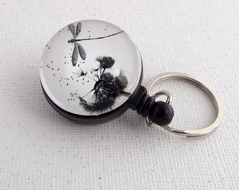 Dragonfly Key Ring on Badge Reel, Key Chain
