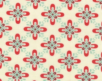 Sale fabric, End of the Year Sale, Cotton fabric by the yard, Retro fabric, Red fabric, Floral fabric, Baby Jane by Comstock, Choose the cut