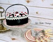 Vintage Novelty Black Forest Cake Velvet Purse ~ Pinup Cherry Kitsch La Regale Handbag