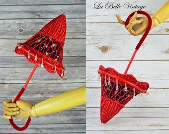 Vintage Umbrella Novelty Purse ~ Red Wicker Handbag ~ Crystal Raindrops