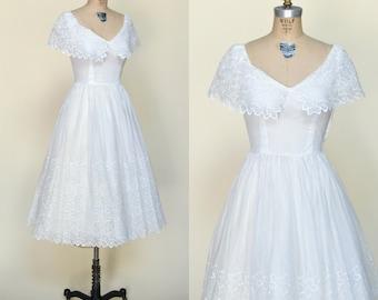 Vintage Tea Length Wedding Dress --- 1950s Cotton Organza Dress