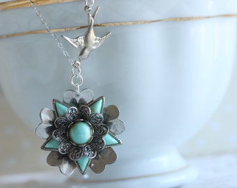 Vintage Flower Necklace Turquoise Flower with Silver Bird Bohemian Vintage Jewelry