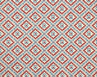 "1950s Vintage Wallpaper by the Yard - Nancy McClelland ""Grimes Fairy Tale"" Burgundy Blue"