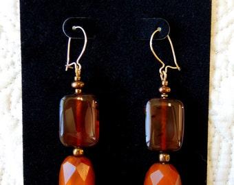 Women's OOAK Genuine Vintage Amber Bead Dangle Pierced Earrings