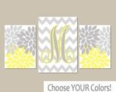 Yellow Gray Nursery Wall Art, Baby Girl Nursery Wall Art, Girl Bedroom Pictures, CANVAS or Prints Girl Nursery Artwork Set of 3
