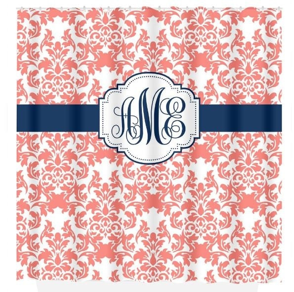 Damask SHOWER CURTAIN Coral Navy Custom MONOGRAM Personalized