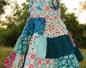 Summer Girls Dress Aqua Teal Red Patchwork Dress Bojo Dress Country Dress Girls Birthday Dress 2 3 4 5 6 7 8 10