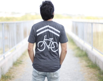 Mens bike tshirt - cyclist shirt - sharrows on heather black - mens graphic tee - gift for bike lovers - Share The Road by Blackbird Tees