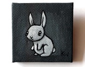 Gray Rabbit Painting Miniature - Tiny Rabbit Painting - Original Wall Art Acrylic on Canvas 2 x 2 Inches Miniature Painting - Bunny Art