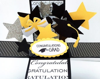3D Graduation Card - Graduation Pop Up Card - Congratulations Grad - Stars, Cap and Diploma Explosion Card - Card in A Box - Cards for Grads
