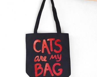 CATS are my BAG Tote, red and black, back to school, bookworm gift, crazy cat lady, tote bag funny, cat lover, for best friend, gift for her
