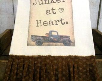 Junker at heart Old truck towel Shabby Prairie Farmhouse cottonTattered ruffles ECS RDT FVGteam