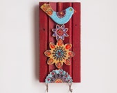 Wall Hook Key Holder READY TO SHIP Accessory Hanger Repurposed Trim Key Hook Colorful Ceramic Tiles Whimsical Bird Scandinavian Folk Style
