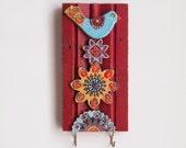 Wall Hook Key Holder READY TO SHIP Accessory Hanger Repurposed Trim Key Hook Colorful Ceramic Tiles Whimsical Bird Scandinavian Folk Style