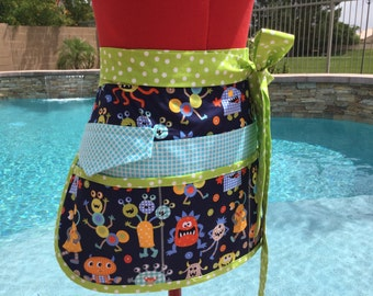 Monster Mash Sassy Vendor Apron with 6 pockets, great for Vendors, Utility, Farmers Market, Techers Aprons