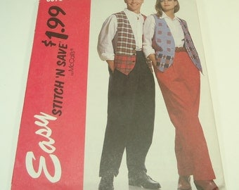 McCall's Easy Stitch And Save Misses', Men's, Or Teen Boys Lined Vest And Pants Pattern 6079 Size XS S M