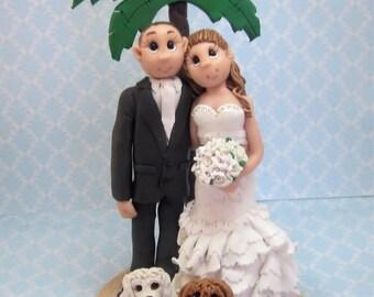 Beach Wedding Cake Topper,Custom wedding cake topper, personalized cake topper, Bride and groom cake topper, Mr and Mrs cake topper