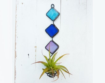 Stained Glass Air Plant Holder -   Mod Trio with Aqua, Royal blue, and Lilac