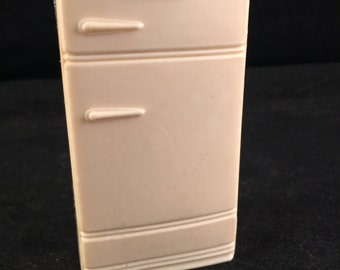 Vintage Off White Plastic Kitchen Refrigerator Doll House Furniture